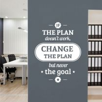 If the Plan doesn't work, Change the Plan but never the Goal  - Motivational Wall Decal Sticker