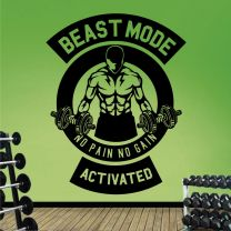 Workout Bodybuilder Beast Mode Activated - Gym Wall Decal Sticker