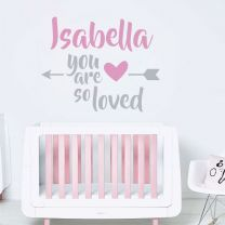 You are so loved - Personalised Name, Children Nursery Bedroom Decal Wall Sticker