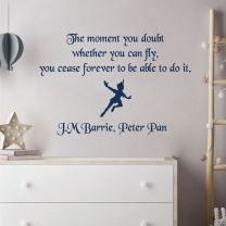 The Moment You Doubt Whether You Can Fly... - Peter Pan Book Quote Decal Wall Sticker