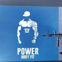 Power Body Fit Bodybuilder Fitness Training Silhouette - Gym Decal Wall Sticker