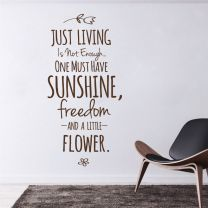 Just Living is not Enough... - Motivational Quote Decal Wall Sticker