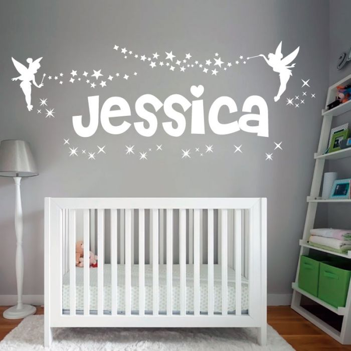 Personalised Name Girls Wall Art Sticker - Fairies Fairy Disney Tinkerbell  and Stars