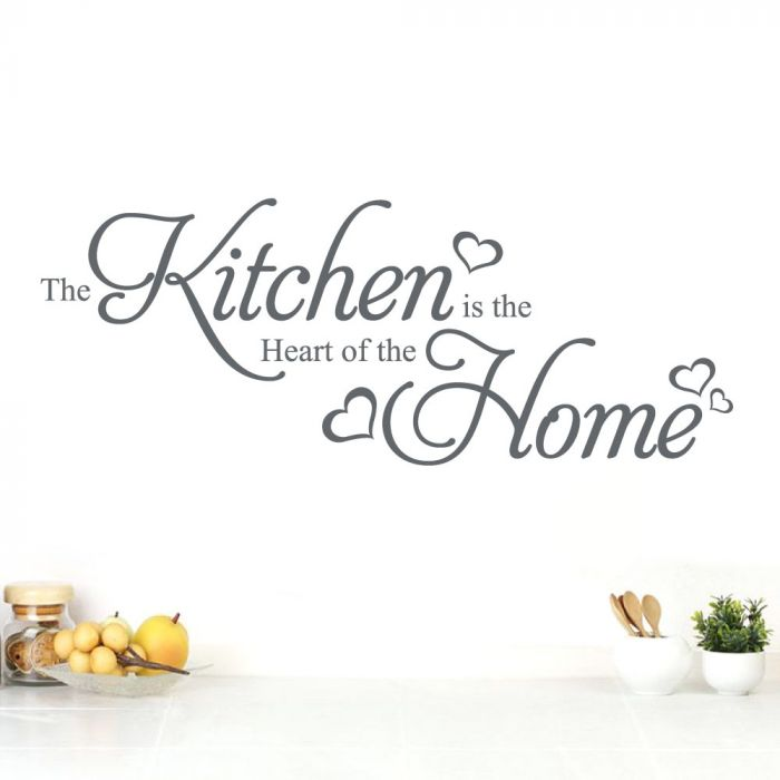 The Kitchen is the Heart of the Home - Kitchen Wall Quote, Wall Art Sticker