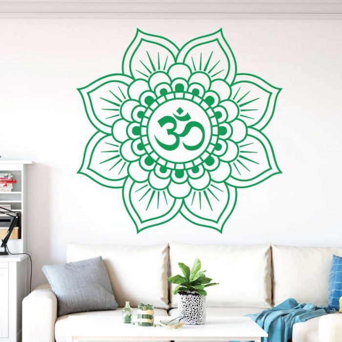 Wall Designer Mandala Lotus Flower Om Yoga Wall Art Sticker