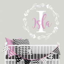 Personalised Name with Initial in Floral Wreath - Nursery Wall Sticker