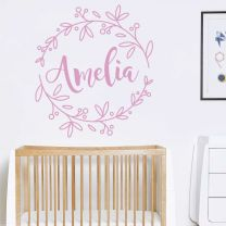 Personalised Name in Floral Wreath - Nursery Wall Sticker