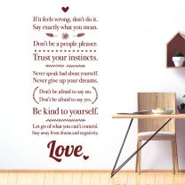 If if feels wrong don't do it, Don't be afraid to say no... - Motivational Decal Wall Sticker