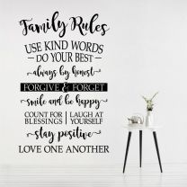 Family Rules - Use Kind Words, Always be Honest... - Home Decal Wall Sticker