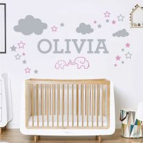 Elephants, Clouds & Stars - Personalised Name Nursery Wall Sticker