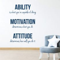 Ability, Motivation, Attitude - Inspirational Quote Decal Wall Sticker