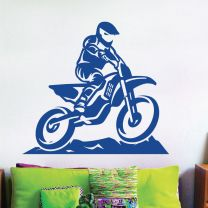 MX Biker Silhouette, Motocross Sport, Stunts - Boys Room Decal Wall Sticker