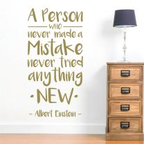 A Person Who Never Made Mistake... - Einstein Quote Decal Wall Sticker