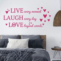 Live, Laugh, Love - Motivational Love Quote Decal Wall Sticker