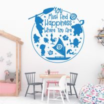 You Must Find Happiness Where You Are - Disney Moana Decal Wall Sticker
