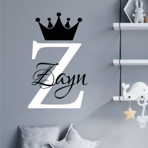 Personalised Name Baby Prince Princess Decal Wall Sticker - Initial Letter Crown