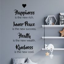 Happiness, Inner Peace, Health, Kindness - Inspirational Quote Wall Decal