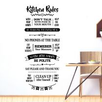 Kitchen Rules - Wash Your Hands, No Phones on the Table, Help the Cook - Decal Wall Sticker