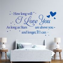 How Long with I Love You, As Long As Stars are Above You - Decal Wall Quote Sticker