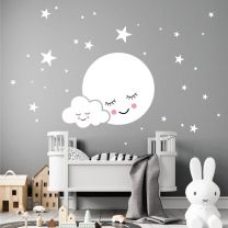 Cute Moon & Cloud with Stars - Baby Nursery Decal Wall Sticker