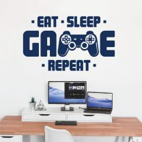 Eat Sleep Game Repeat - Gamers Room Bedroom Wall Decal Sticker