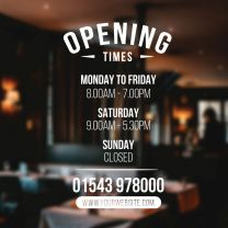 Opening Times Sign - Arch Header Short Layout, Phone Number & Website