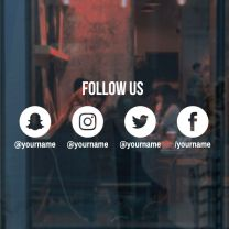 Business Social Media Icons Set - Follow Us - Wall / Window Decal Sticker - Horizontal Layout