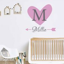 Heart & Arrow - Personalised Name, Initial Children Nursery Bedroom Decal Wall Sticker