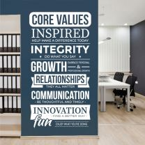 Core Values  - Wall Quote, Company Office, Conference Room, Corporate Wall Art Sticker