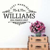 Mr & Mrs Just Married Family Name Wedding Date - Personalised Family Quote Wall Sticker