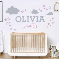 Elephants, Clouds & Stars - Personalised Name Nursery Wall Sticker