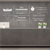 Take Initiative, Value Teamwork, Be Passionate, Ensure Growth, Have Fun - Office Decal Wall Sticker
