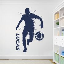 Personalised Name Running Footballer Football Soccer Player Game - Sports Decal Wall Sticker