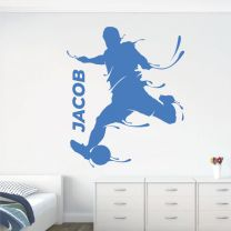 Personalised Name Goal Kick Footballer Football Soccer Player Game - Sports Decal Wall Sticker