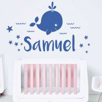 Baby Whale, Sea, Waves & Stars - Personalised Name Decal Nursery Wall Sticker