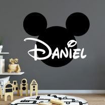 Mickey Mouse Silhouette Personalised Name - Disney Decal Wall Sticker