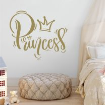 Princess in Script Writing Crown - Girls Nursery Decal Wall Sticker