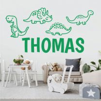 Cute Cartoon Dinosaurs - Personalised Decal Wall Sticker