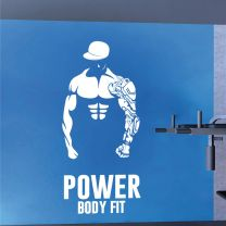 Power Body Fit Bodybuilder Fitness Training Silhouette - Gym Decal Wall Sticker
