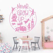 Never Grow Up - Disney Peter Pan Inspired Decal Wall Sticker