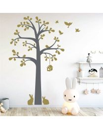 Tree, Leaves, Birds & Rabbits - Forest Animals - Nursery Decal Wall Sticker