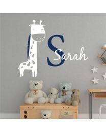 Giraffe, Personalised Name, Initial Letter - Children Decal Wall Sticker