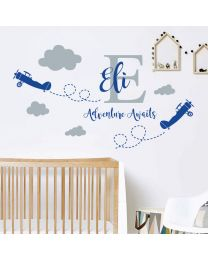 Personalised Name - Initial Letter, Clouds, Air Planes, Adventure - Children Decal Wall Sticker