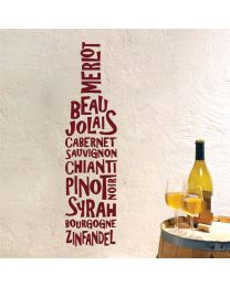 Wine Bottle - Merlot, Pinot Noir, Sauvignon - Kitchen Restaurant Decal Wall Sticker