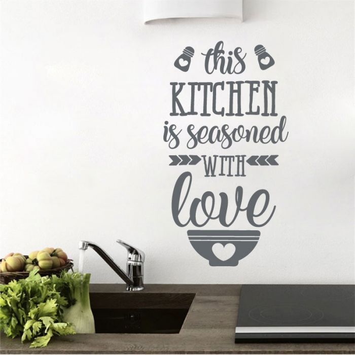 This Kitchen Is Seasoned With Love Kitchen Wall Quote Wall Art Sticker