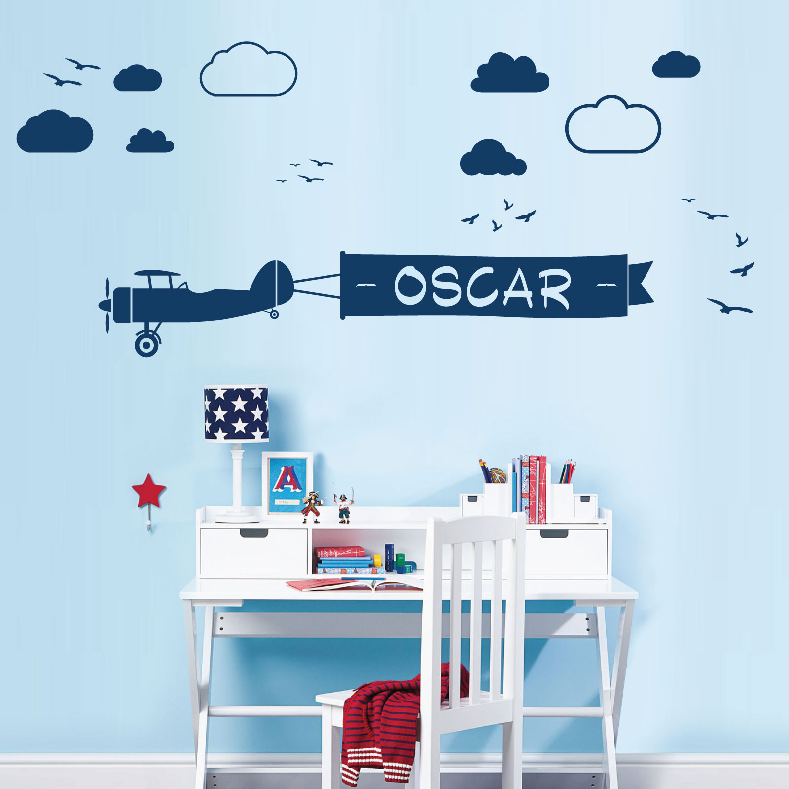 personalised name children wall art sticker airplane with ribbon