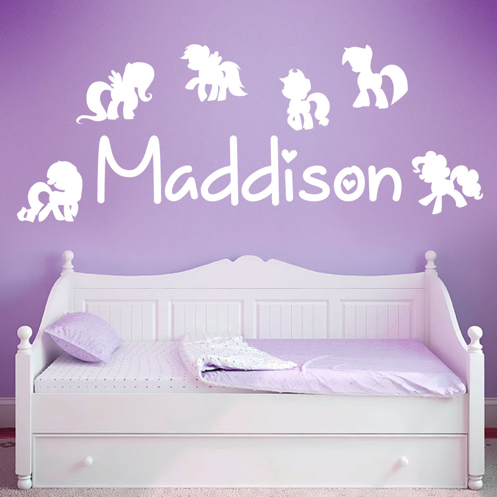 Personalised Name Girls Wall Art Sticker   My Little Pony, Ponies,  Friendship Is Magic