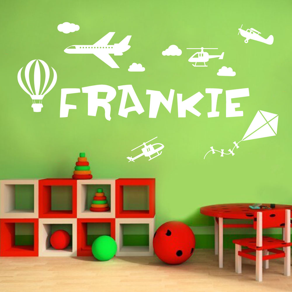 Personalised name boys wall art sticker plane helicopter kite hot air balloon