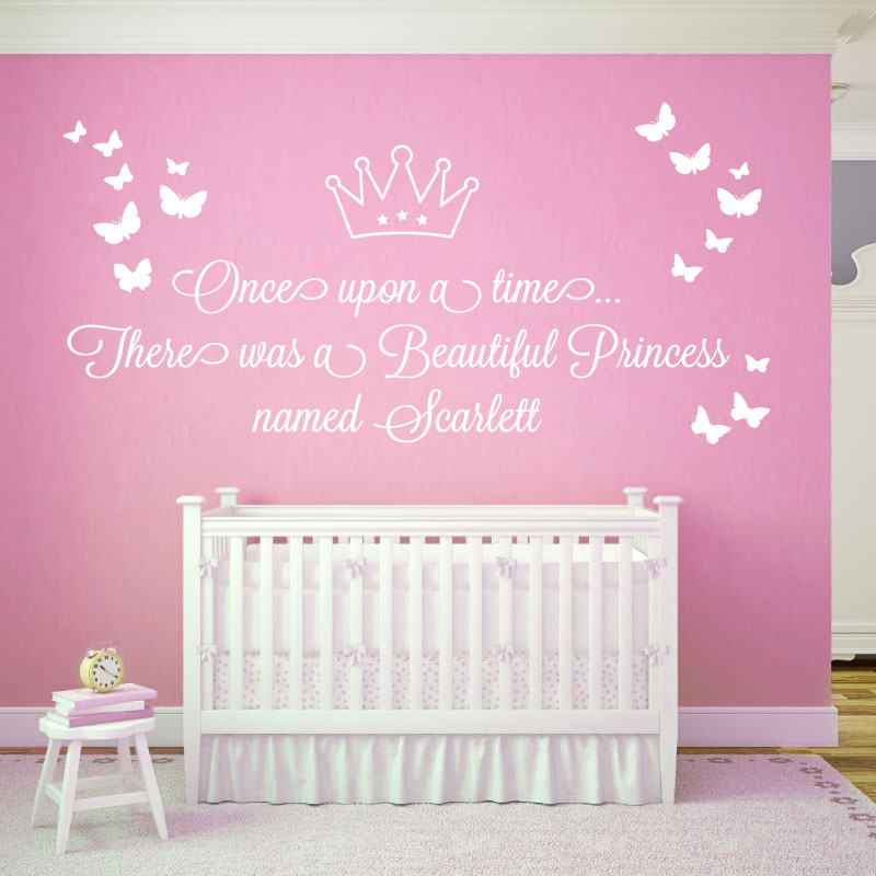 Once Upon A Time , There Was A Beautiful Princess   Girls Name Wall Art  Sticker