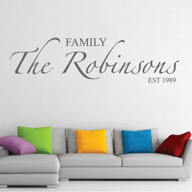 Hall Wall Art Sticker Family Name Living Room